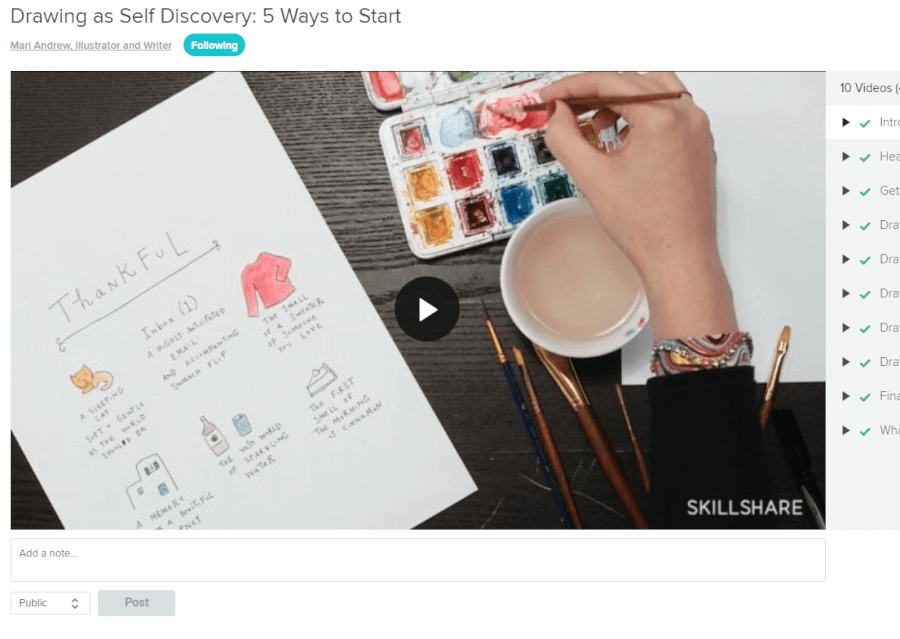 Skillshare course on drawing